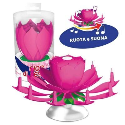 Candelina girevole fiore rosa