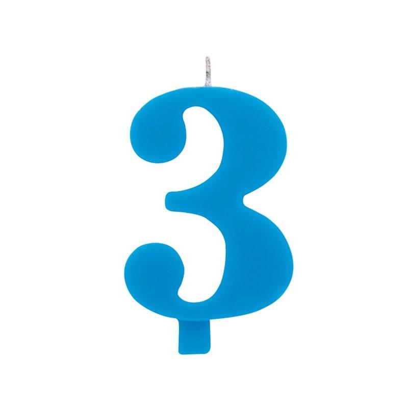 Candelina numero 3 azzurra