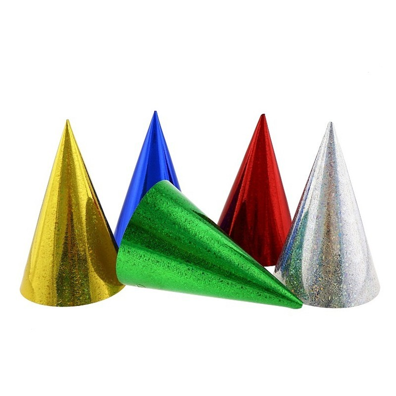 Cappellini cono da festa in cartone Metal - 1 pz