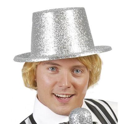 Cappello cilindro con glitter argento