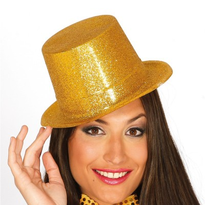 Cappello cilindro con glitter oro
