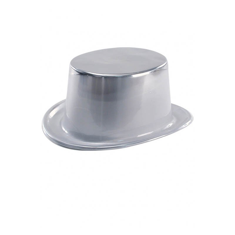Cappello cilindro plastica argento