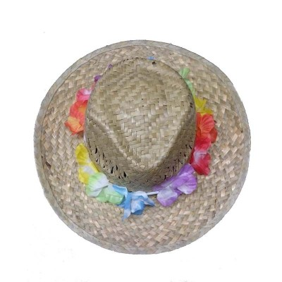 Cappello Hawaiano in paglia con fiori