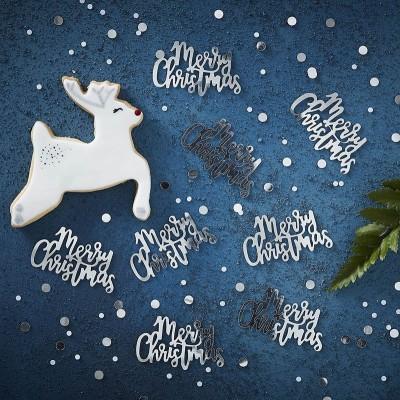 Coriandoli da Tavolo Merry Christmas Argento