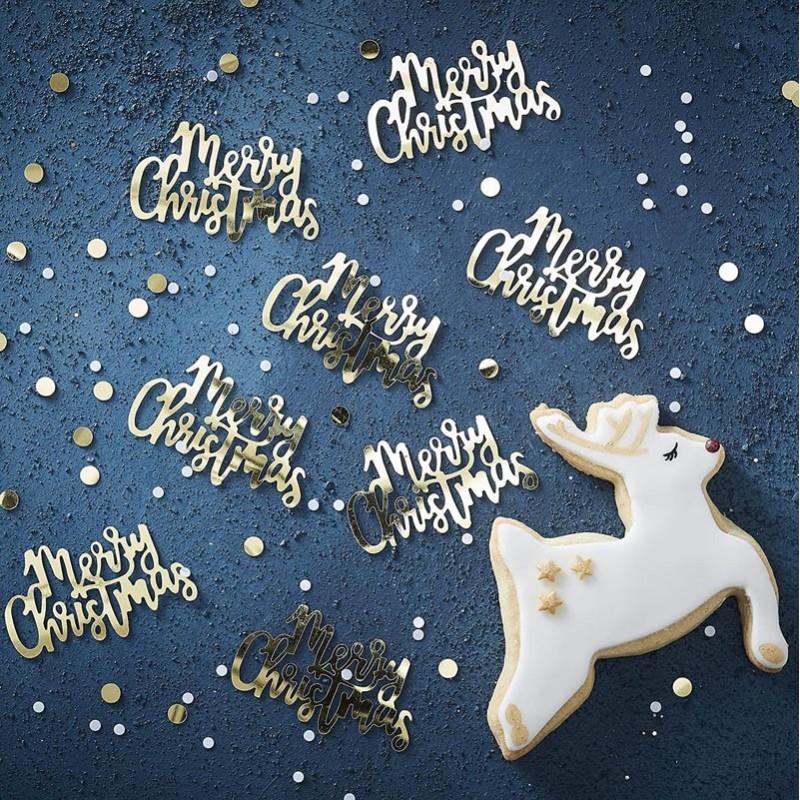 Coriandoli da Tavolo Merry Christmas Oro
