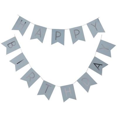 Festone Happy Birthday Celeste Pastello - 2.5 mt