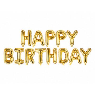 Festone Happy Birthday palloncini oro
