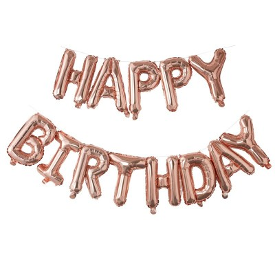 Festone Happy Birthday palloncini ororosa