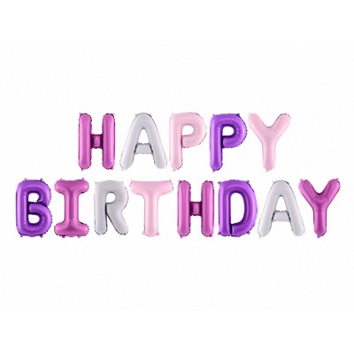 Festone Happy Birthday palloncini rosa mix