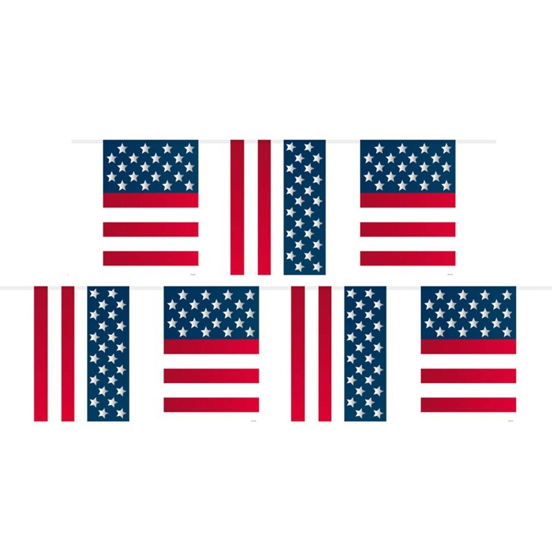 Festone PVC bandierine America - 10 mt