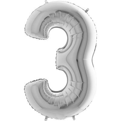Numero 3 argento 100 cm