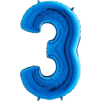Numero 3 azzurro cm 100