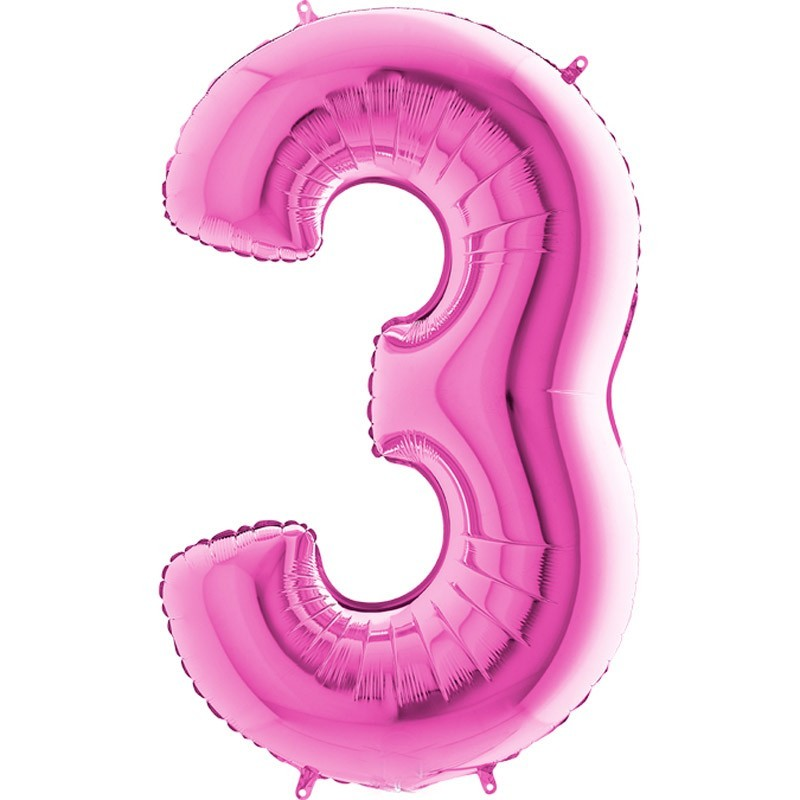 Numero 3 rosa 100 cm