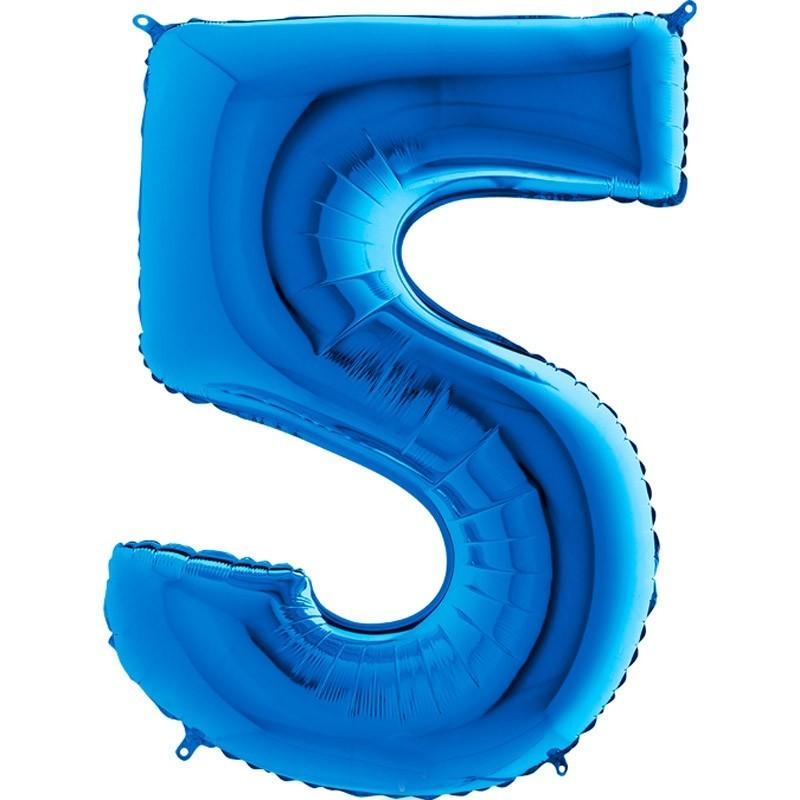 Numero 5 azzurro cm 100