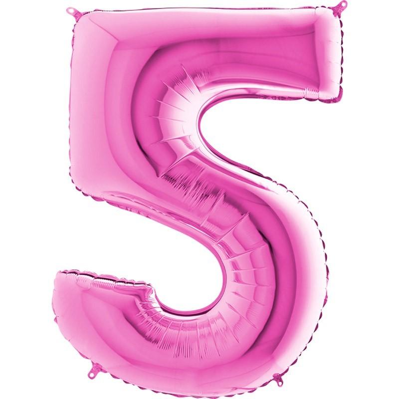 Numero 5 rosa 100 cm