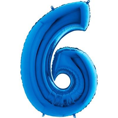 Numero 6 azzurro cm 100