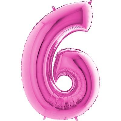 Numero 6 rosa 100 cm