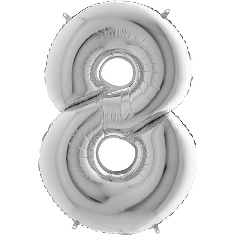 Numero 8 argento 100 cm