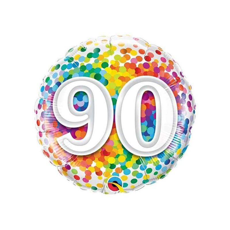Palloncino mylar 90 anni colorato