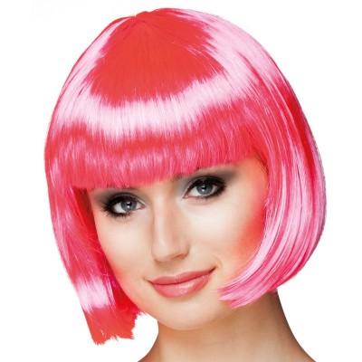 Parrucca a caschetto rosa
