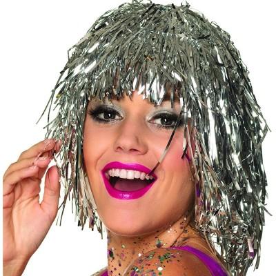 Parrucca metallizzata argento