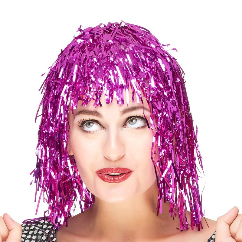 Parrucca metallizzata rosa