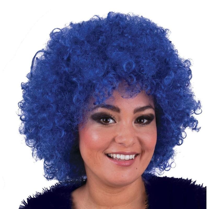 Parrucca riccia azzurra