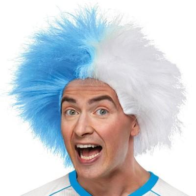 Parrucca riccia bianco-azzurra
