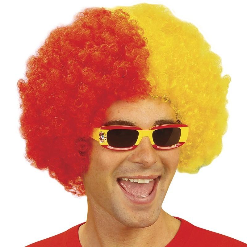 Parrucca riccia giallo-rosso