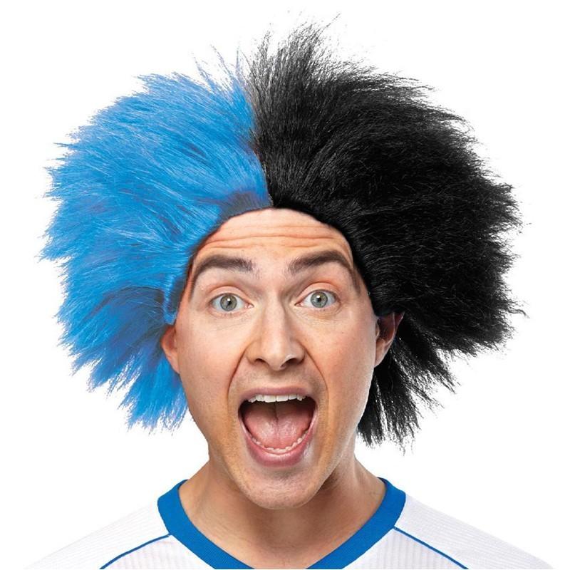 Parrucca riccia nero-azzurra