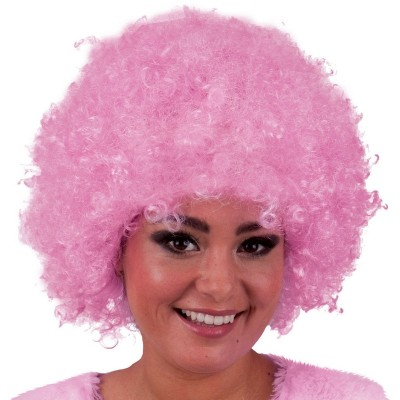 Parrucca riccia rosa
