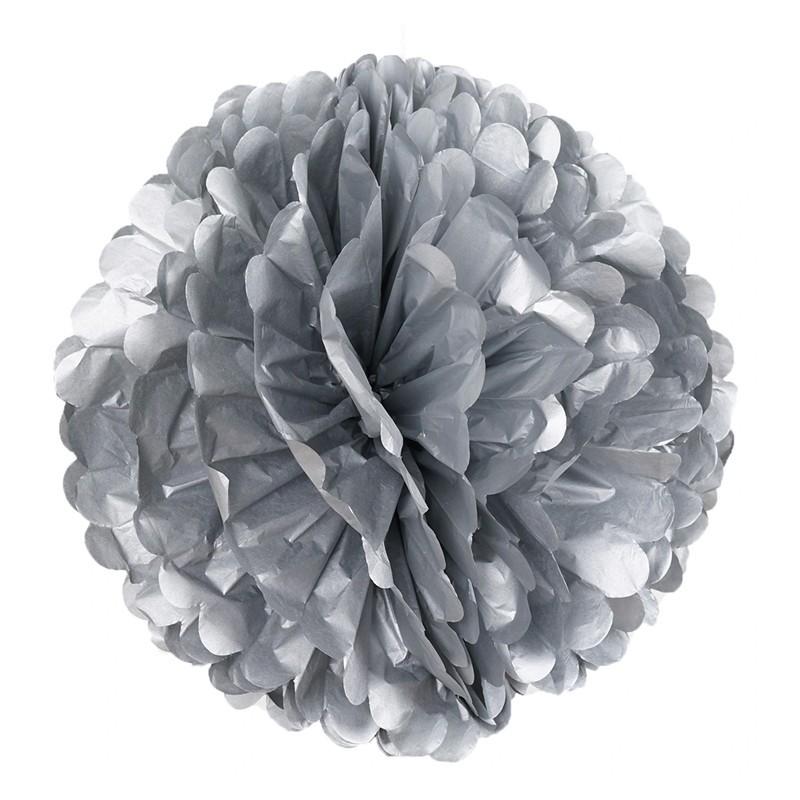 Pom pom di carta argento 30 cm