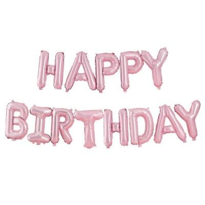 Festone Happy Birthday palloncini rosa matte
