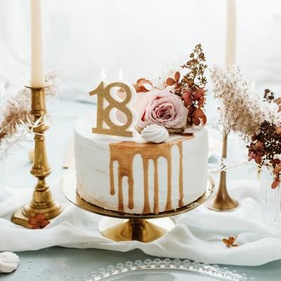 Candelina numero 18 oro glitter