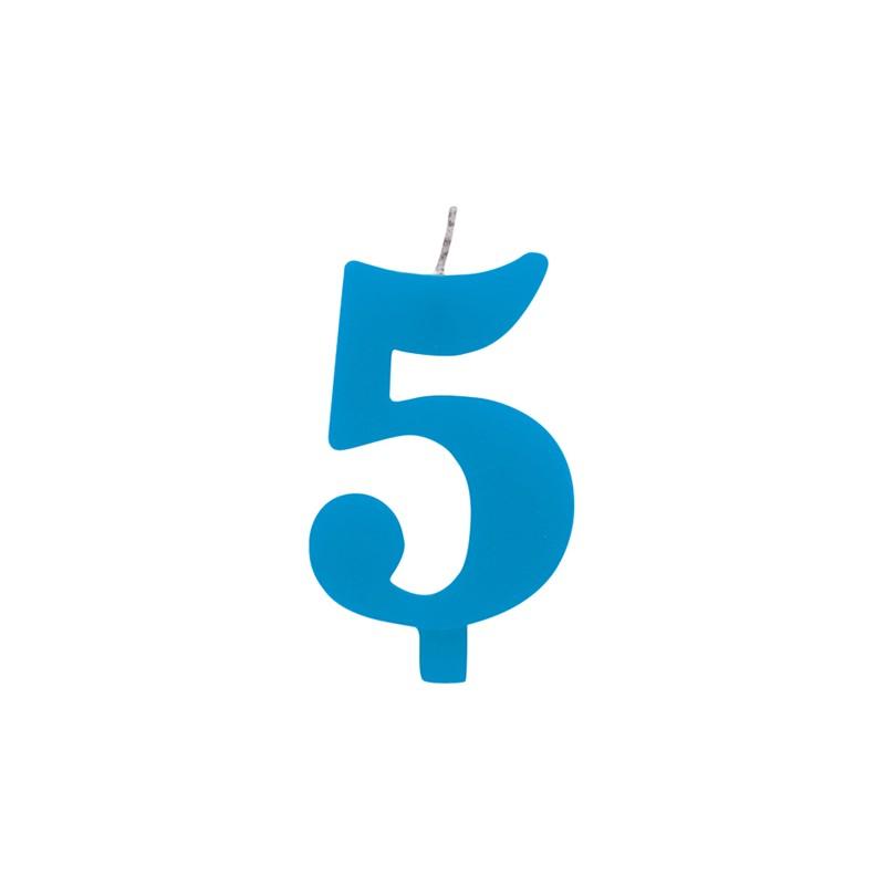 Candelina numero 5 azzurra