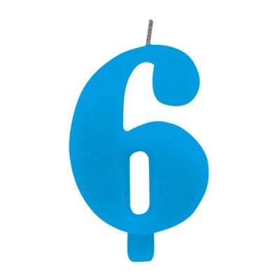 Candelina numero 6 azzurra