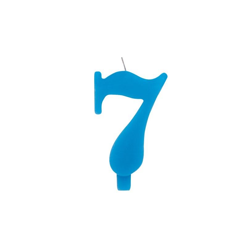 Candelina numero 7 azzurra