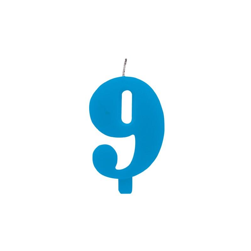 Candelina numero 9 azzurra